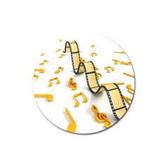 Isolated Three Dimensional Negative Roll Musical Notes Movie Magnet 3  (round) by Mariart