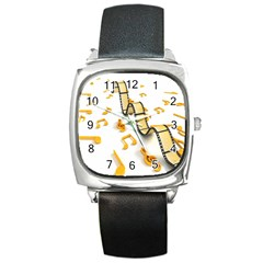 Isolated Three Dimensional Negative Roll Musical Notes Movie Square Metal Watch by Mariart