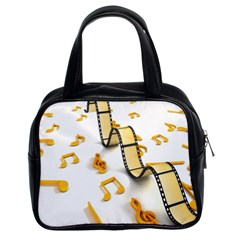 Isolated Three Dimensional Negative Roll Musical Notes Movie Classic Handbags (2 Sides) by Mariart