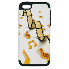 Isolated Three Dimensional Negative Roll Musical Notes Movie Apple Iphone 5 Hardshell Case (pc+silicone)