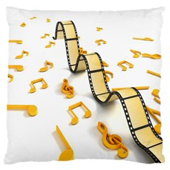 Isolated Three Dimensional Negative Roll Musical Notes Movie Large Flano Cushion Case (one Side) by Mariart
