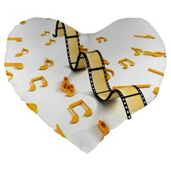 Isolated Three Dimensional Negative Roll Musical Notes Movie Large 19  Premium Flano Heart Shape Cushions by Mariart