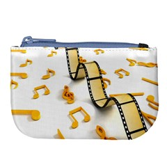 Isolated Three Dimensional Negative Roll Musical Notes Movie Large Coin Purse