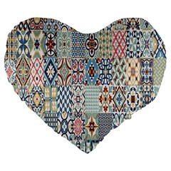 Deco Heritage Mix Large 19  Premium Flano Heart Shape Cushions by Mariart