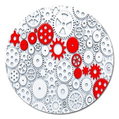 Iron Chain White Red Magnet 5  (round) by Mariart