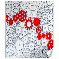 Iron Chain White Red Canvas 8  X 10  by Mariart