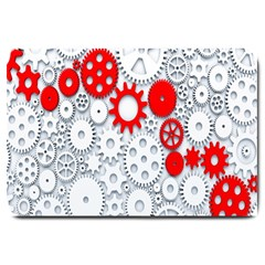 Iron Chain White Red Large Doormat  by Mariart