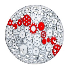 Iron Chain White Red Ornament (round Filigree) by Mariart