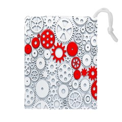 Iron Chain White Red Drawstring Pouches (extra Large) by Mariart