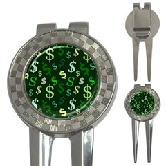 Money Us Dollar Green 3 In 1 Golf Divots by Mariart