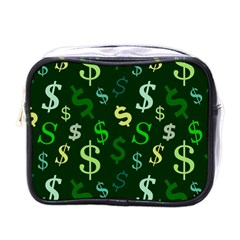 Money Us Dollar Green Mini Toiletries Bags by Mariart