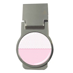 Love Polka Dot White Pink Line Money Clips (round)  by Mariart