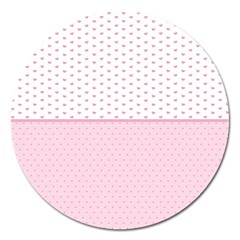 Love Polka Dot White Pink Line Magnet 5  (round) by Mariart
