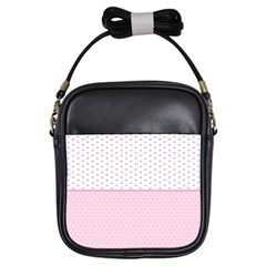 Love Polka Dot White Pink Line Girls Sling Bags by Mariart