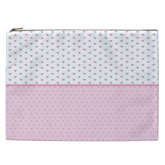 Love Polka Dot White Pink Line Cosmetic Bag (xxl)  by Mariart