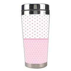 Love Polka Dot White Pink Line Stainless Steel Travel Tumblers by Mariart