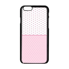 Love Polka Dot White Pink Line Apple Iphone 6/6s Black Enamel Case by Mariart