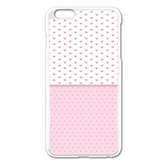 Love Polka Dot White Pink Line Apple Iphone 6 Plus/6s Plus Enamel White Case