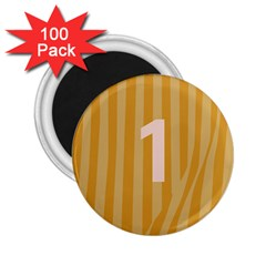 Number 1 Line Vertical Yellow Pink Orange Wave Chevron 2 25  Magnets (100 Pack)  by Mariart