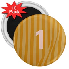 Number 1 Line Vertical Yellow Pink Orange Wave Chevron 3  Magnets (10 Pack)  by Mariart