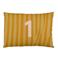 Number 1 Line Vertical Yellow Pink Orange Wave Chevron Pillow Case (two Sides) by Mariart