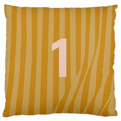Number 1 Line Vertical Yellow Pink Orange Wave Chevron Large Cushion Case (one Side) by Mariart