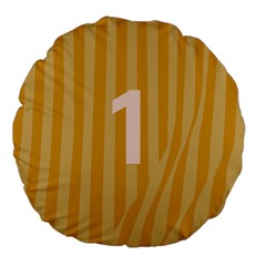 Number 1 Line Vertical Yellow Pink Orange Wave Chevron Large 18  Premium Flano Round Cushions by Mariart