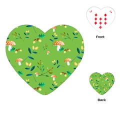 Mushrooms Flower Leaf Tulip Playing Cards (heart)  by Mariart