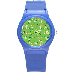 Mushrooms Flower Leaf Tulip Round Plastic Sport Watch (s) by Mariart