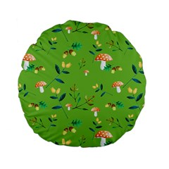 Mushrooms Flower Leaf Tulip Standard 15  Premium Flano Round Cushions by Mariart