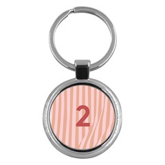 Number 2 Line Vertical Red Pink Wave Chevron Key Chains (round)  by Mariart