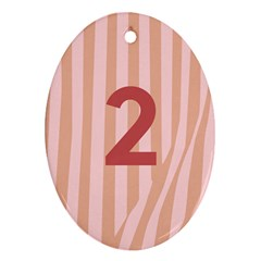 Number 2 Line Vertical Red Pink Wave Chevron Oval Ornament (two Sides) by Mariart