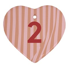 Number 2 Line Vertical Red Pink Wave Chevron Heart Ornament (two Sides) by Mariart