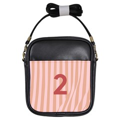 Number 2 Line Vertical Red Pink Wave Chevron Girls Sling Bags by Mariart
