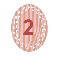 Number 2 Line Vertical Red Pink Wave Chevron Oval Filigree Ornament (two Sides) by Mariart