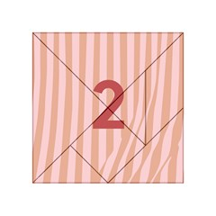 Number 2 Line Vertical Red Pink Wave Chevron Acrylic Tangram Puzzle (4  X 4 ) by Mariart