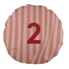 Number 2 Line Vertical Red Pink Wave Chevron Large 18  Premium Round Cushions by Mariart