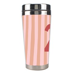 Number 2 Line Vertical Red Pink Wave Chevron Stainless Steel Travel Tumblers by Mariart
