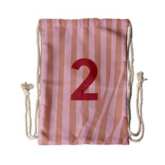 Number 2 Line Vertical Red Pink Wave Chevron Drawstring Bag (small) by Mariart