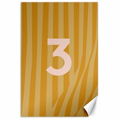 Number 3 Line Vertical Yellow Pink Orange Wave Chevron Canvas 24  X 36  by Mariart