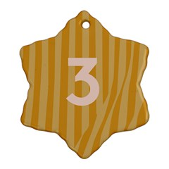Number 3 Line Vertical Yellow Pink Orange Wave Chevron Snowflake Ornament (two Sides) by Mariart