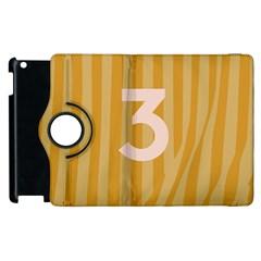 Number 3 Line Vertical Yellow Pink Orange Wave Chevron Apple Ipad 2 Flip 360 Case by Mariart