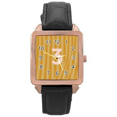 Number 3 Line Vertical Yellow Pink Orange Wave Chevron Rose Gold Leather Watch  by Mariart