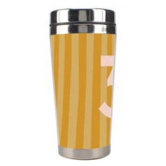 Number 3 Line Vertical Yellow Pink Orange Wave Chevron Stainless Steel Travel Tumblers by Mariart