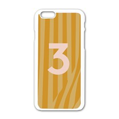 Number 3 Line Vertical Yellow Pink Orange Wave Chevron Apple Iphone 6/6s White Enamel Case by Mariart