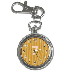 Number 7 Line Vertical Yellow Pink Orange Wave Chevron Key Chain Watches by Mariart