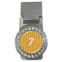 Number 7 Line Vertical Yellow Pink Orange Wave Chevron Money Clips (cz)  by Mariart