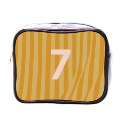 Number 7 Line Vertical Yellow Pink Orange Wave Chevron Mini Toiletries Bags by Mariart