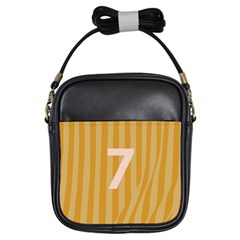 Number 7 Line Vertical Yellow Pink Orange Wave Chevron Girls Sling Bags by Mariart