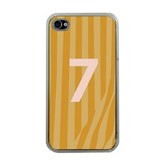 Number 7 Line Vertical Yellow Pink Orange Wave Chevron Apple Iphone 4 Case (clear) by Mariart